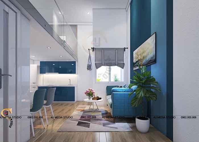 """Với diện tích không quá lớn, 4U MEDIA STUDIO đề xuất một số giải pháp để """"tăng"""" diện tích không gian nhà: - Trệt dùng làm phòng khách nhỏ, bếp và ăn - Tạo thêm gác lửng: tăng không gian sử dụng, dùng làm phòng ngủ và làm việc - Các kệ, tủ,..được xếp gọn gàng, tận dụng các khoảng không gian trống dưới thang - Một vài chậu cây xanh cho không gian tươi mát và sinh động - Sử dụng các màu: + Màu trắng của tường – thiết bị: không gian sạch, sáng và rộng thoáng + Màu xanh: mát mẻ + Nhấn một ít màu nâu của sàn gỗ và các thanh đứng"""